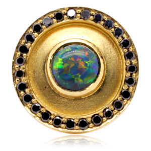 Mens Black Opal Earring