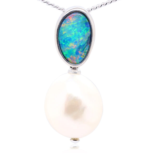Doublet Opal and Pearl Pendant