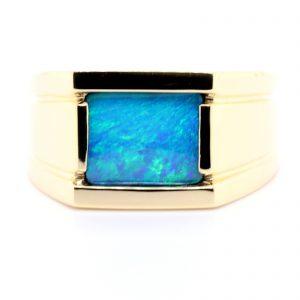 Mens Boulder Opal Ring
