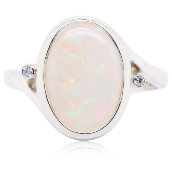 White Crystal Opal Ring